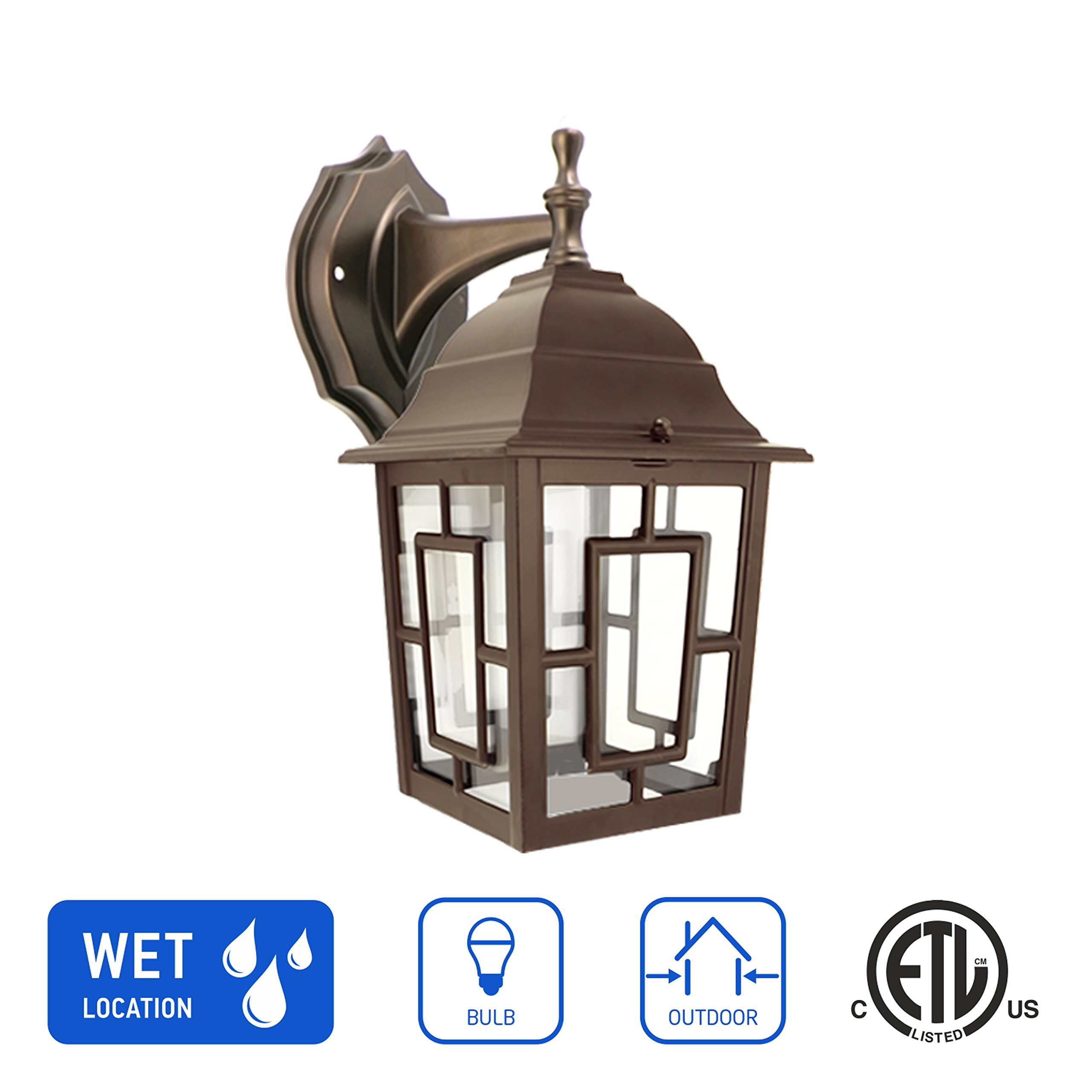 in Home 1-Light Outdoor Wall Mount Lantern Downward Fixture L05 Series Traditional Design Bronze Finish, Clear Glass Shade, ETL Listed