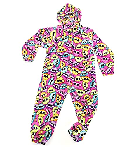 1e4dfac17580 Amazon.com  Confetti and Friends Girl s Fuzzy Plush One Piece Jumpsuit  Pajama with Hood  Clothing