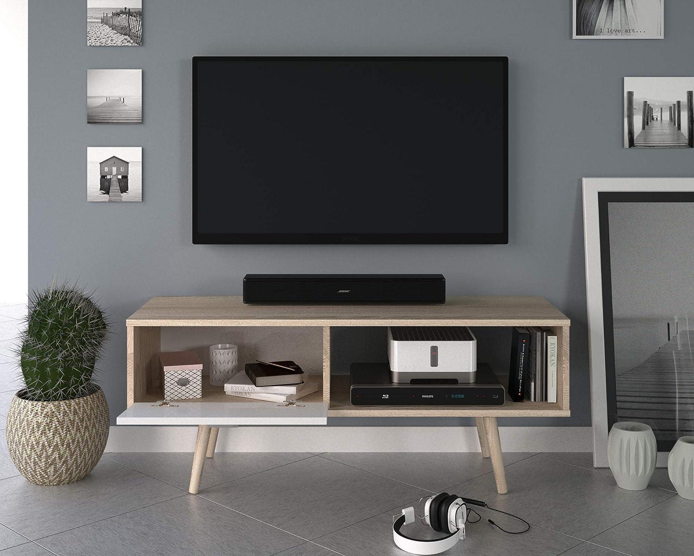 Berlioz Creations Meuble TV 111 x 38 x 45 cm Panneaux de Particules Type Agglo EP.16mm Ch/êne c/érus/é et Blanc