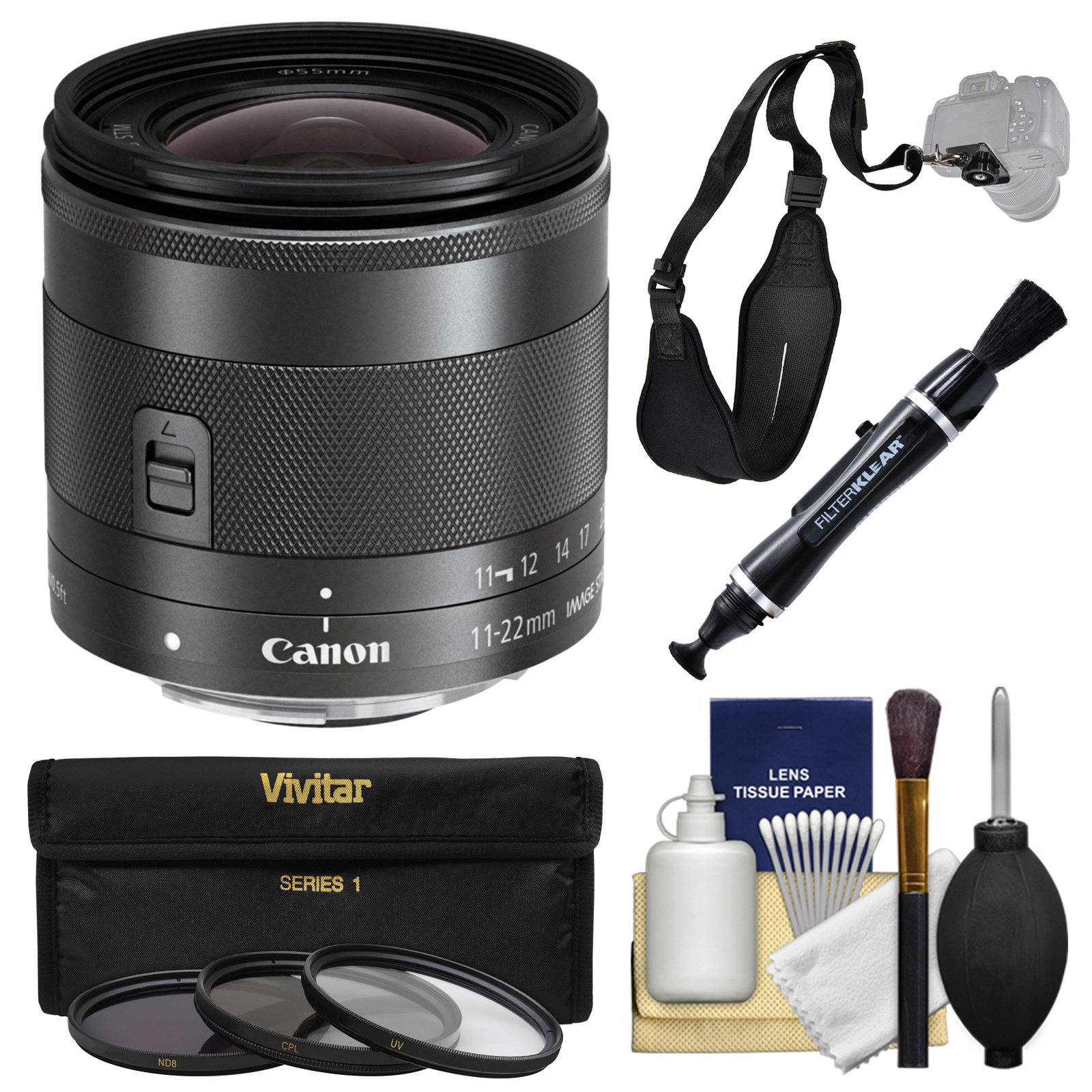 Canon EF-M 11-22mm f/4-5.6 is STM Zoom Lens with 3 Filters + Strap + Kit by Canon