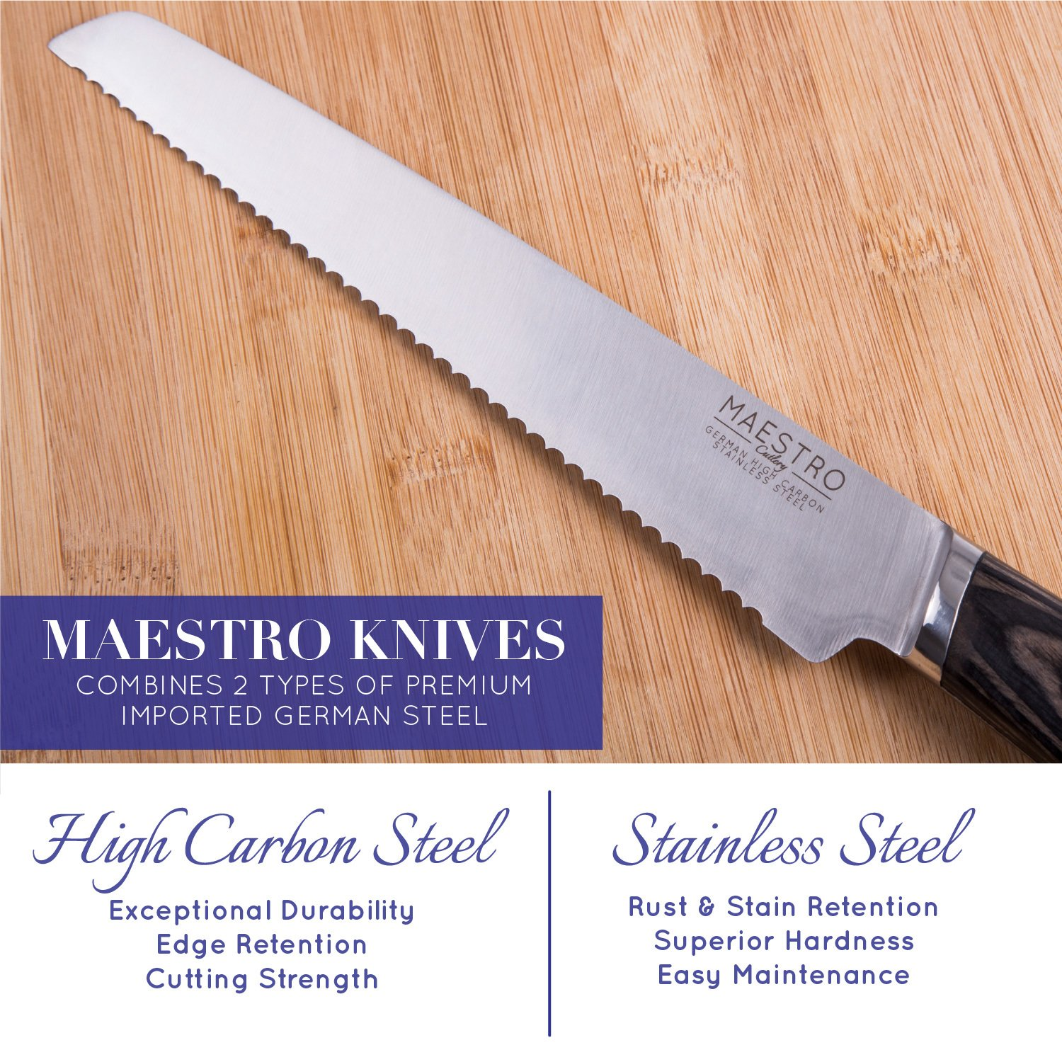 """Maestro Cutlery Volken Series German High Carbon Stainless Steel 8"""" Inch Bread Knife, 8"""" Inch Chef's Knife, 3.5"""" Inch Paring Knife, 8"""" Inch Slicing Knife, and 5"""" Inch Utility Knife with Black Wood Han by Maestro (Image #2)"""