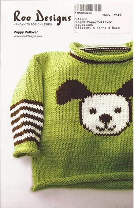 Roo Designs Childs Puppy Pullover Knitting Pattern By Roo Designs