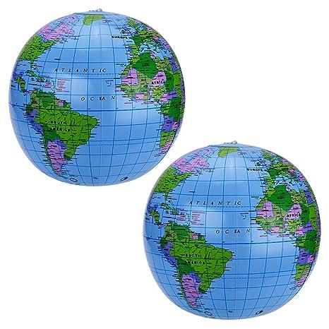 2 juego de 16 pulgadas globo hinchable Blow Up mundo globo pelota ...