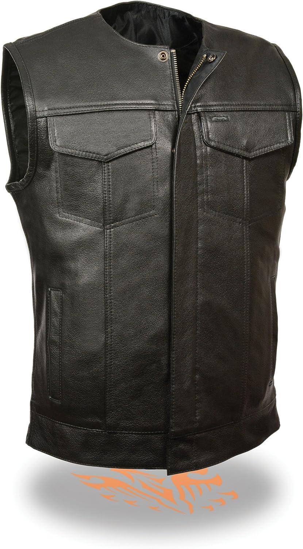 SOA Men's Basic Leather Motorcycle Vest