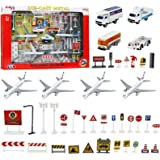 Kiddie Play Kids Airport Playset with Toy Airplanes Vehicles and Accessories (43 Piece Set)