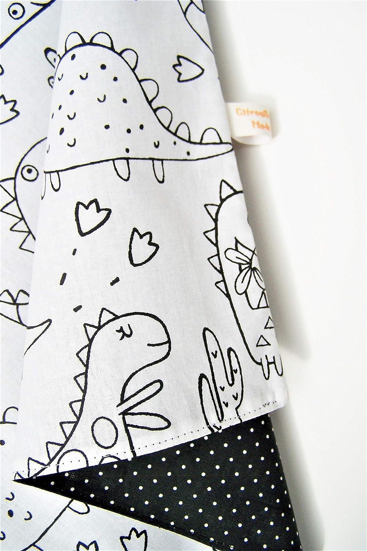 Serviette de table enfant /à colorier avec attache pression dinosaures doubl/ée tissu coton
