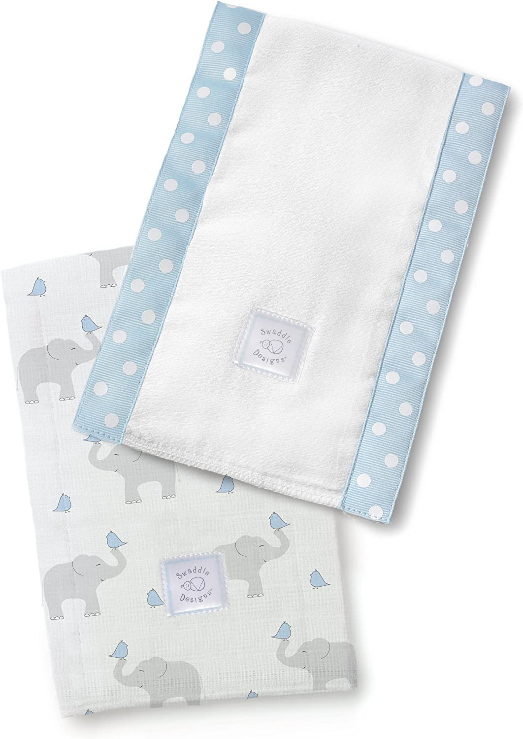 Elephant /& Chickies Set of 2 in Pastel Blue SwaddleDesigns Baby Burpies