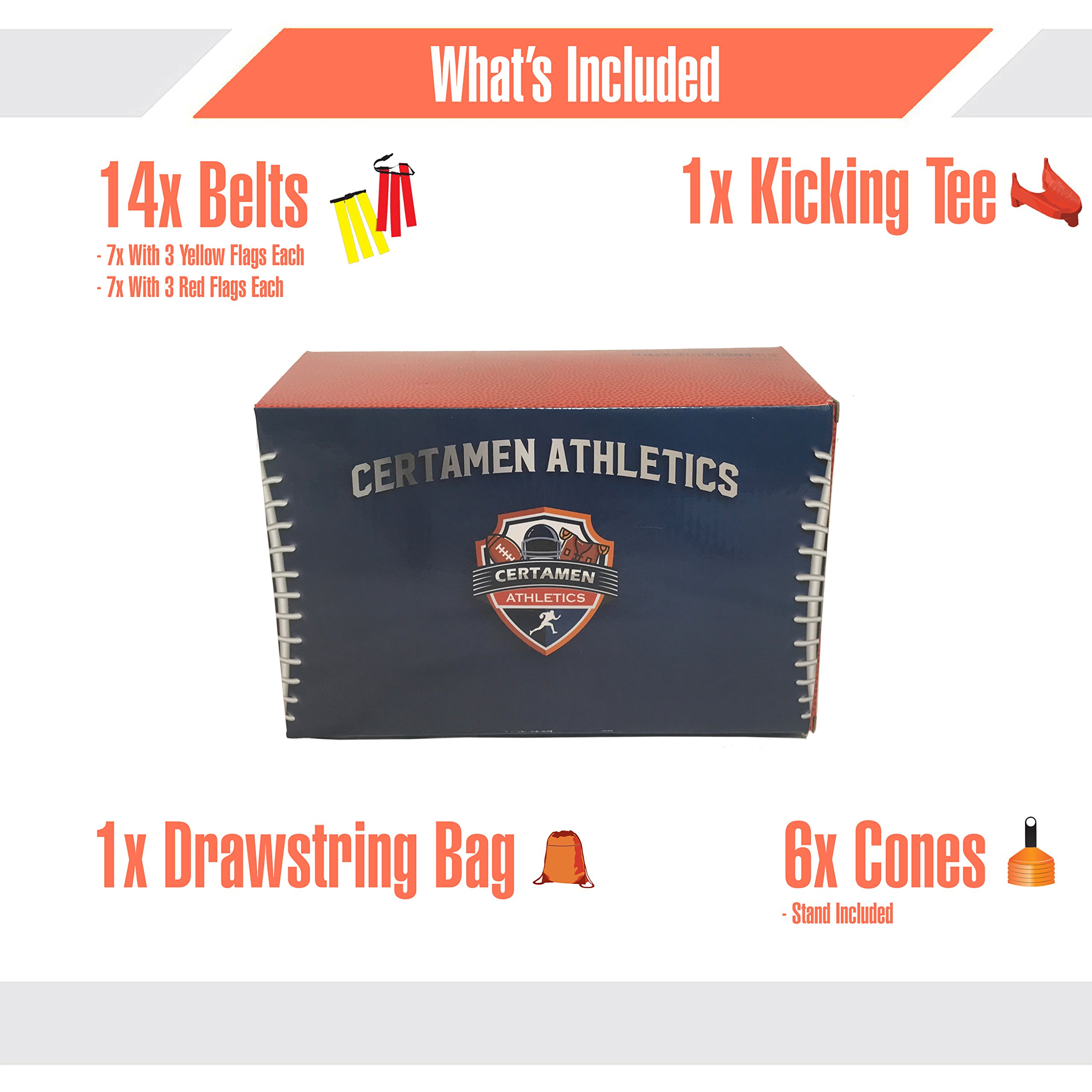 14 Player Flag Football Set - 65 Total Pieces, Football Flags For Kids And Adults, Youth Football Kit | Includes 14 Belts, 3 Flags Each, 6 Cones And Stand, Carrying Bag And a BONUS Kicking Tee by Certamen Athletics (Image #6)