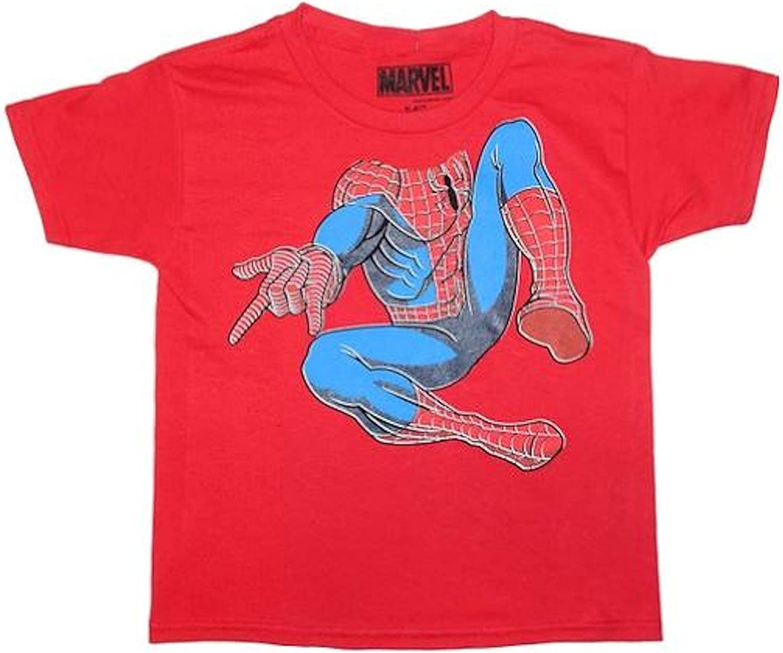 Boys Red short sleeve shirt Size L 10-12 Spider man Marvel Glow in dark    NEW