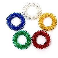 Savita 5 unidades de anillos de masaje de acupresión de dedo sensorial, silencioso, gran juguete sensorial para niños y adultos – ayuda con enfoque ADHD OCD y Autismos, 5 colores brillantes