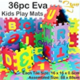 36pc Kids Play Mats Eva Foam Large Soft Floor Tiles Childrens Jigsaw Puzzle Interlocking With Alphabet & Numbers Multi-Coloured By 2You