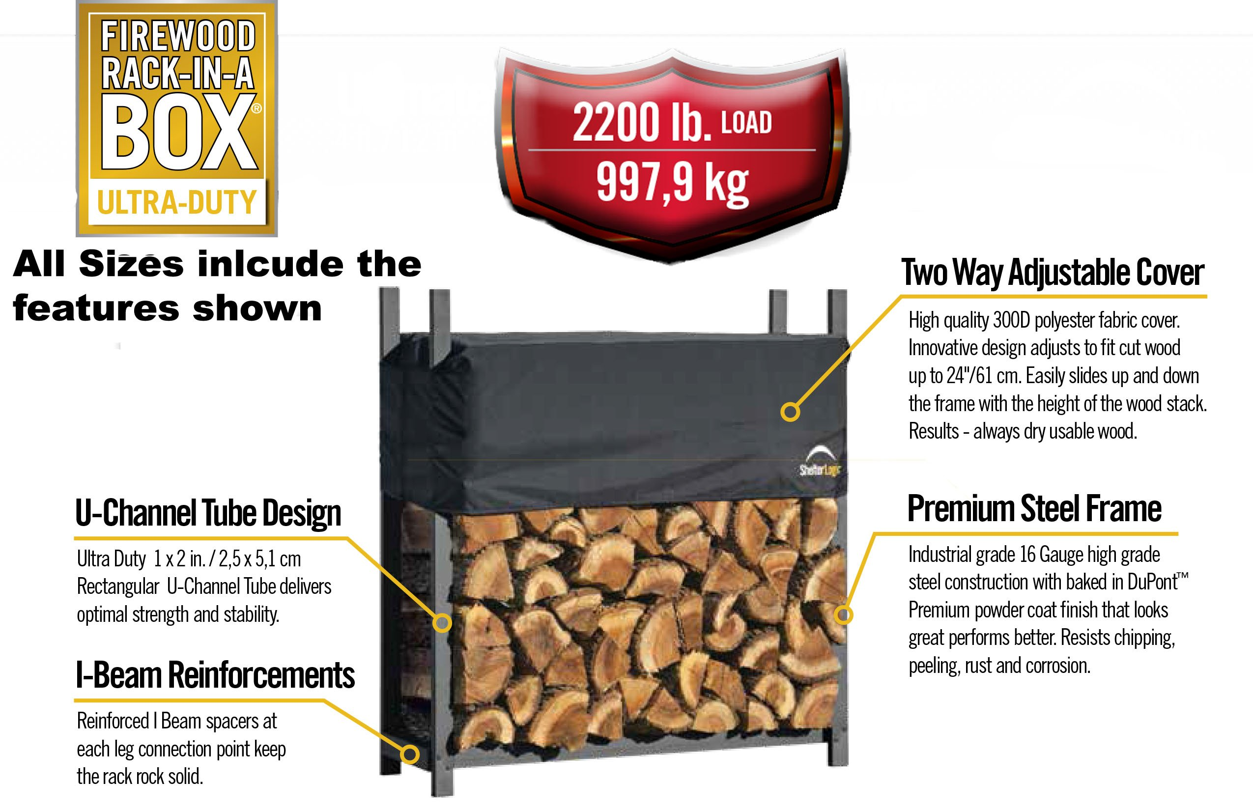 ShelterLogic Ultra Duty Firewood Rack with Cover, 12-Feet