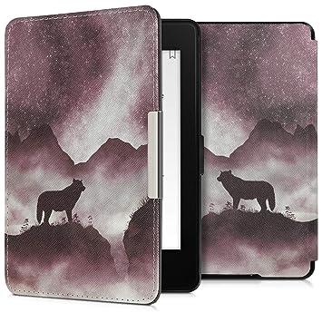 kwmobile Funda para Amazon Kindle Paperwhite - Carcasa para e-Reader de [Cuero sintético] - Case con diseño de Lobo (para Modelos hasta el 2017)