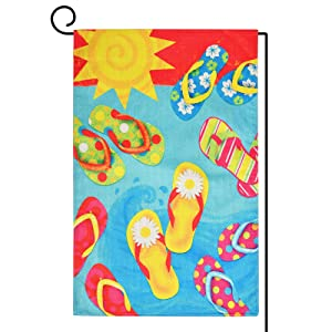 Flip Flops Summer Garden Flag, Premium Polyester Sun Beach Pool Yard Flag, Vertical Double Sided Holiday Front Porch Outdoor Decor - 12 x 18 Inch