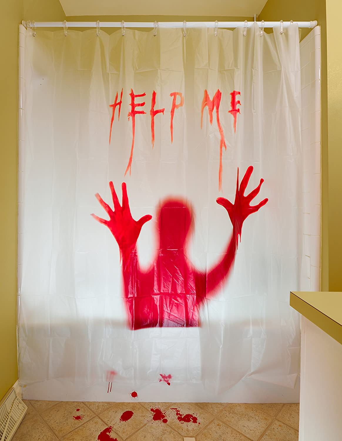 Amazon.com: Prextex 3 PC Horror Bloody Halloween Décor Includes: Bloody  Help Me Shower Curtain, Bloody Footprints Floor Clings And Keep Out Bloody  Stickers: ...