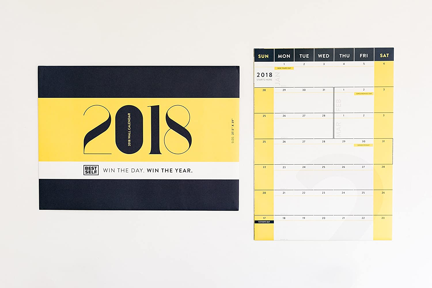 Amazon.com : BestSelf Co. Matte Finish Wall Calendar 2018, Yearly ...