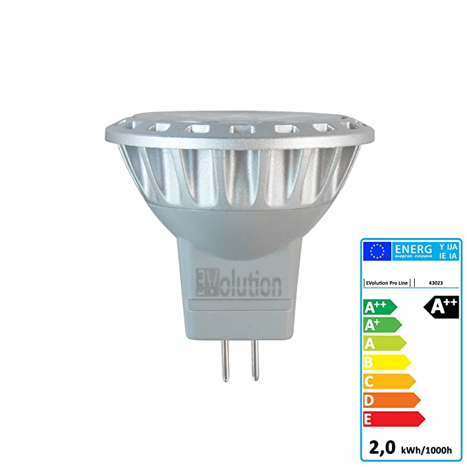 4x Evolution Pro Line | MR11 2W 200 lúmenes LED | lámpara 30° AC/DC 12V blanco cálido: Amazon.es: Iluminación