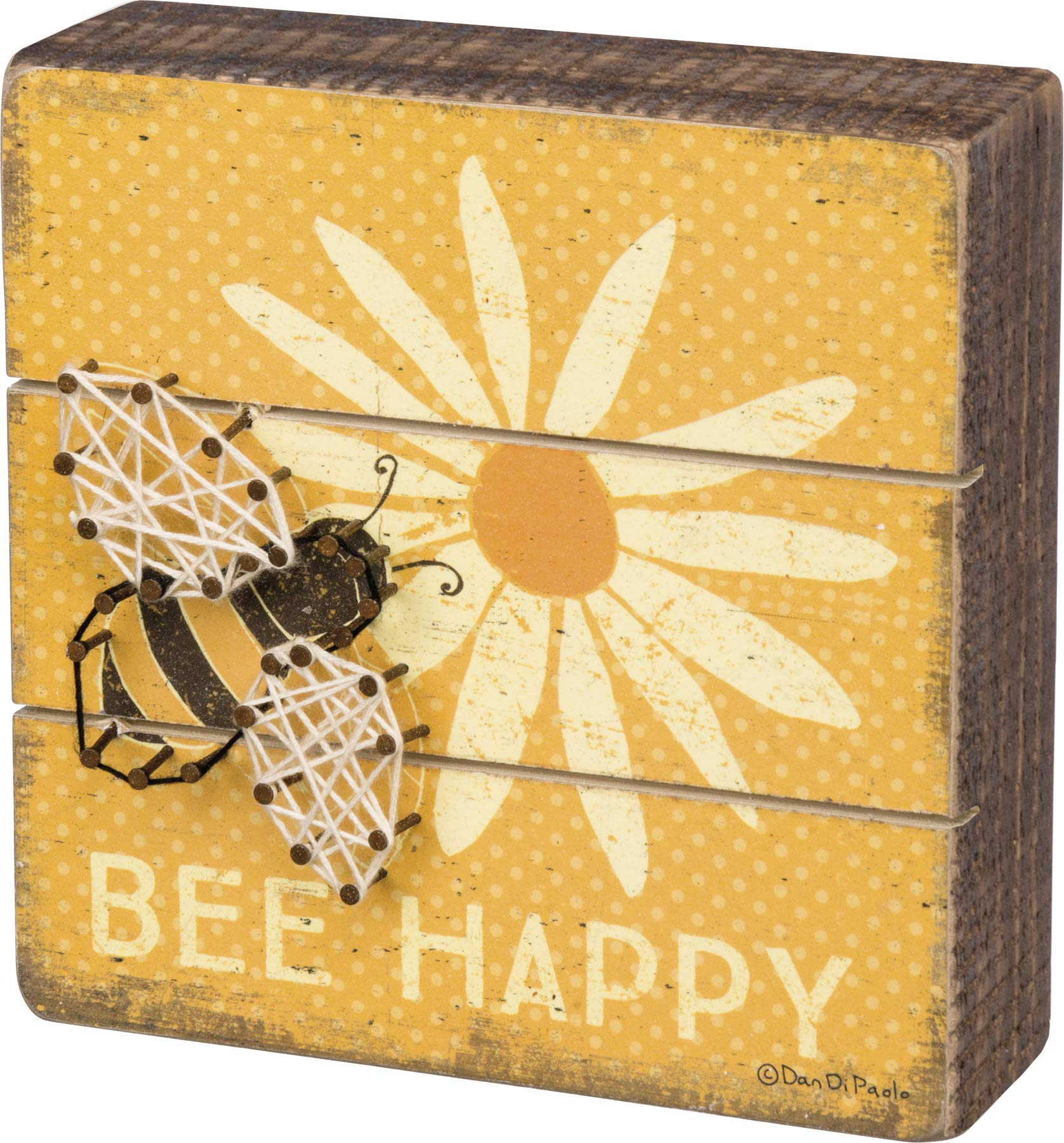 """Primitives by Kathy Slat String Art Box Sign, 6"""" x 6"""", Bee Happy"" (35313)"