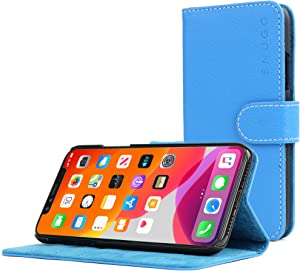 Snugg iPhone 11 Wallet Case – Leather Card Case Wallet with Handy Stand Feature – Legacy Series Flip Phone Case Cover in Electric Blue