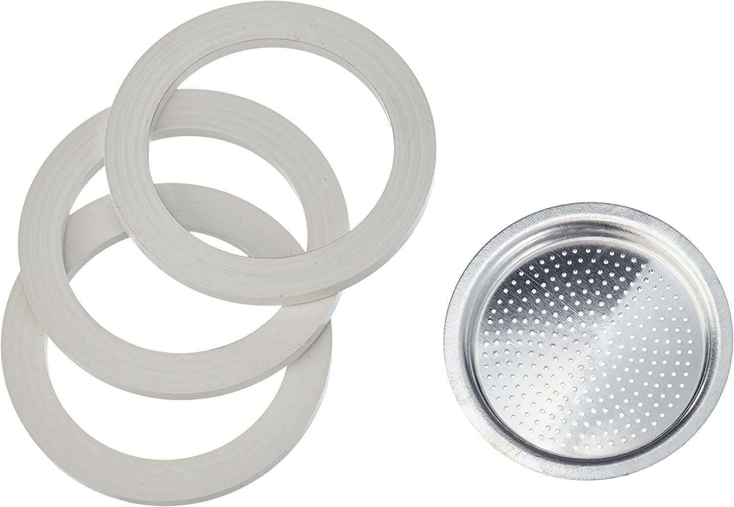 Bialetti 3 gasket and 1 alluminium filter for coffee pot 2 cups