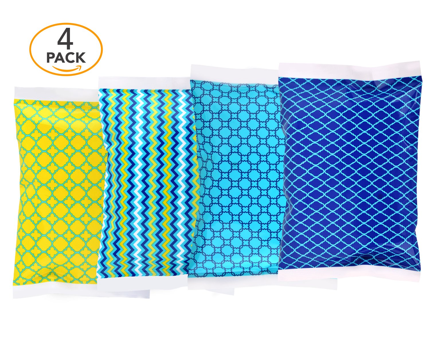 Ice Pack for Lunch Boxes - 4 Reusable Packs - Classic Prints - Keeps Food Cold – Cool Print Bag Designs - Great for Kids or Adults Lunchbox and Cooler