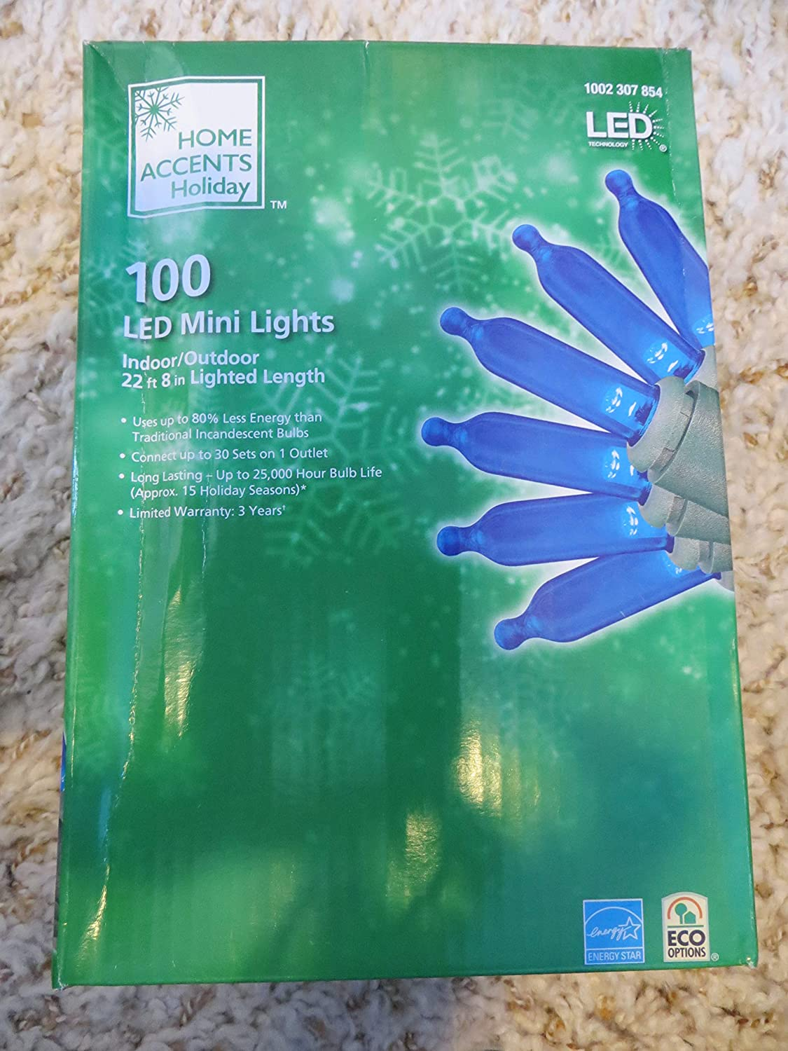 Home Accents Holiday 100 LED Blue Mini Lights