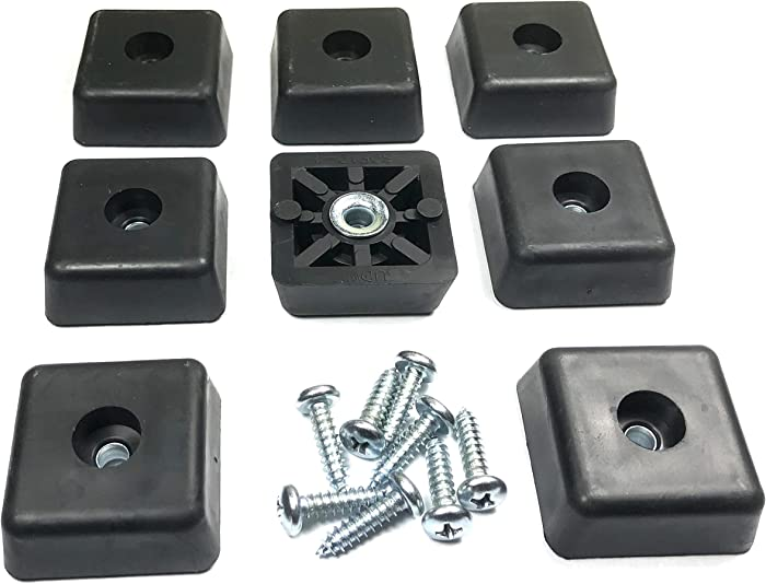 8 Large Square Rubber Feet Foot Bumpers w/Screws- .590 H X 1.500 W - Made in USA - USA