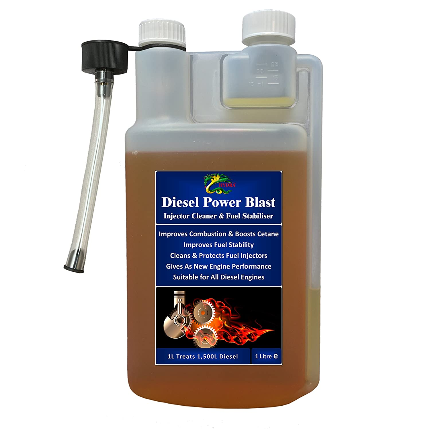 Estabilizador de combustible Diesel Inyector limpiador Treament Hydra Diesel Power Blast 1L Treats hasta 1500 l Hydra International Ltd