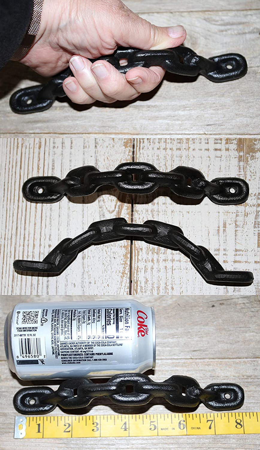Southern Metal 4 Large Masculine Furniture Handles Pulls, Heavy Black Chain Design, Cast Iron, 8 inch, HW-105