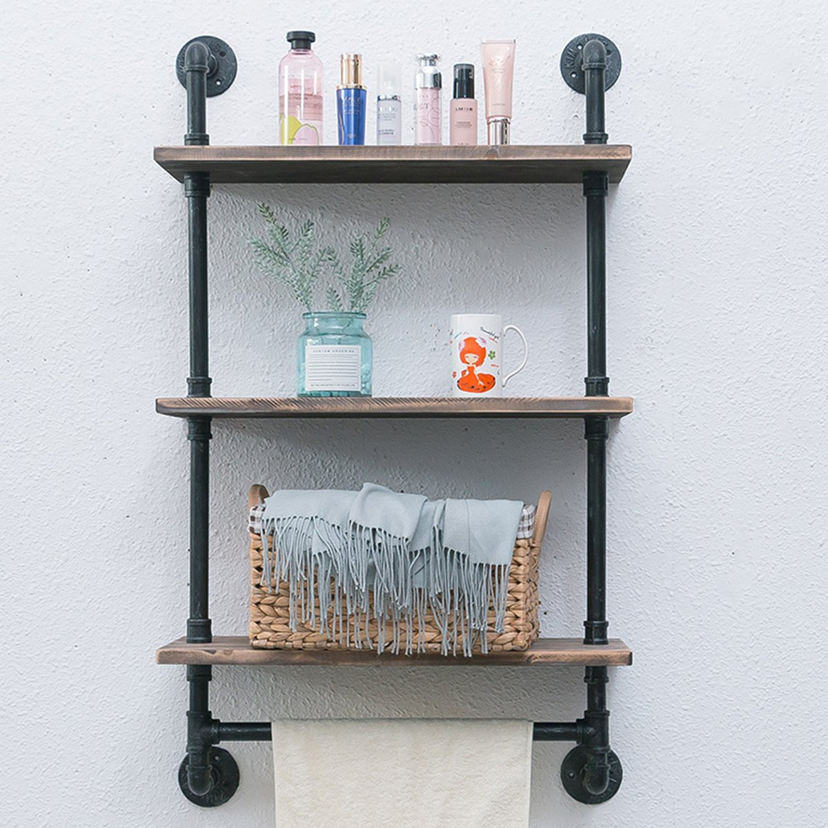 Amazon.com: Industrial Pipe Shelf,Rustic Wall Shelf with Towel Bar ...