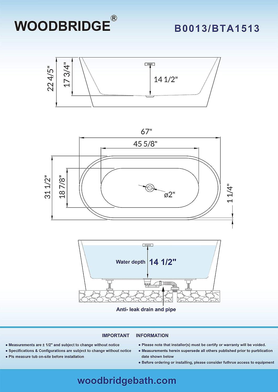 BTA1513 WOODBRIDGE 67 Acrylic Freestanding Bathtub Contemporary Soaking Tub with Brushed Nickel Overflow and Drain B-0013