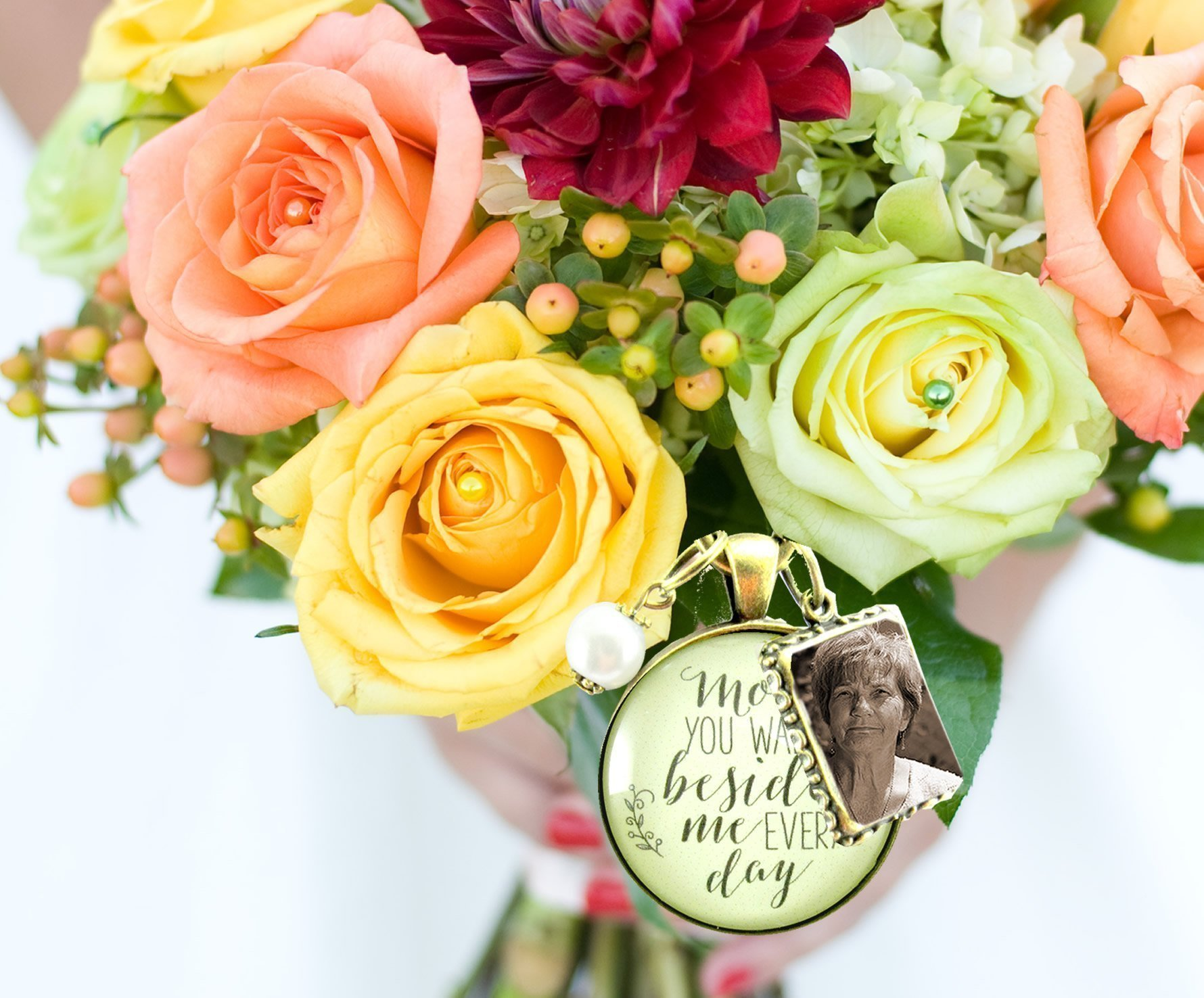 Bridal Bouquet Photo Charm Mom You Walk Beside Me Every Day Wedding Pendant Mother Memorial Remembrance Photo Jewelry
