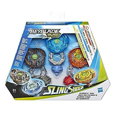 Beyblade Burst Turbo Sling Shock Triple Threat Element-X Pack with Inferno-X Kerbeus K4 Aqua-X Spiral Treptune T4 Mountain-X Galaxy Zeutron Z4 SlingShock: Toys & Games