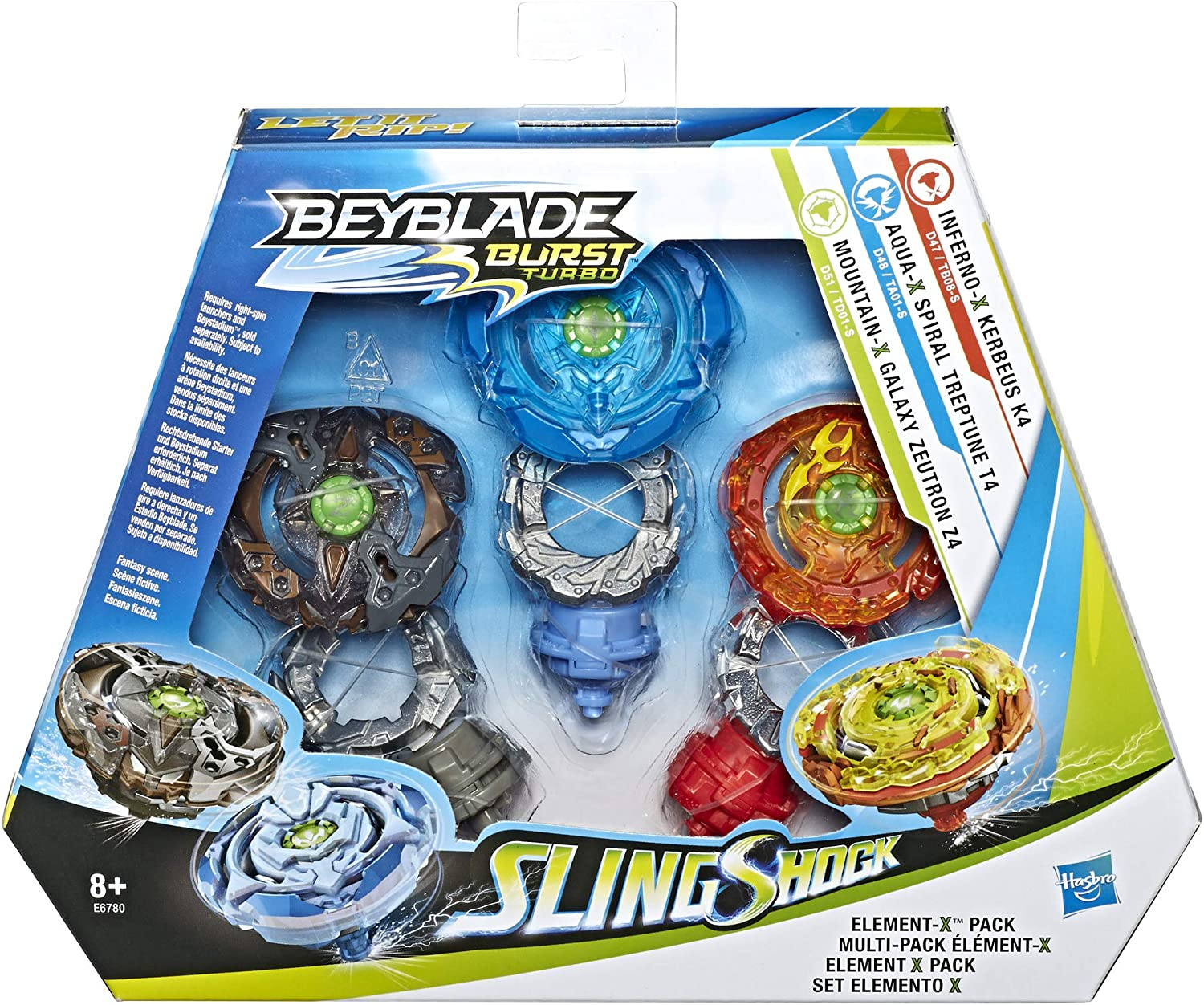 Beyblade Burst Turbo Sling Shock Triple Threat Element-X Pack con ...