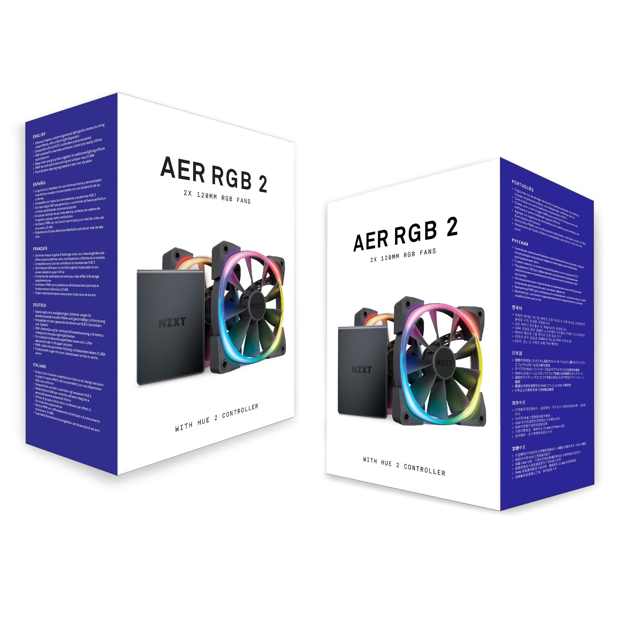 NZXT AER RGB 2 - 2-Pack of 120mm RGB PWM Fans with Hue 2 Lighting Controller - Advanced Lighting Customization - LED RGB PWM Fans - Winglet Tips - Fluid Dynamic Bearing - PC Case Fan by NZXT (Image #7)