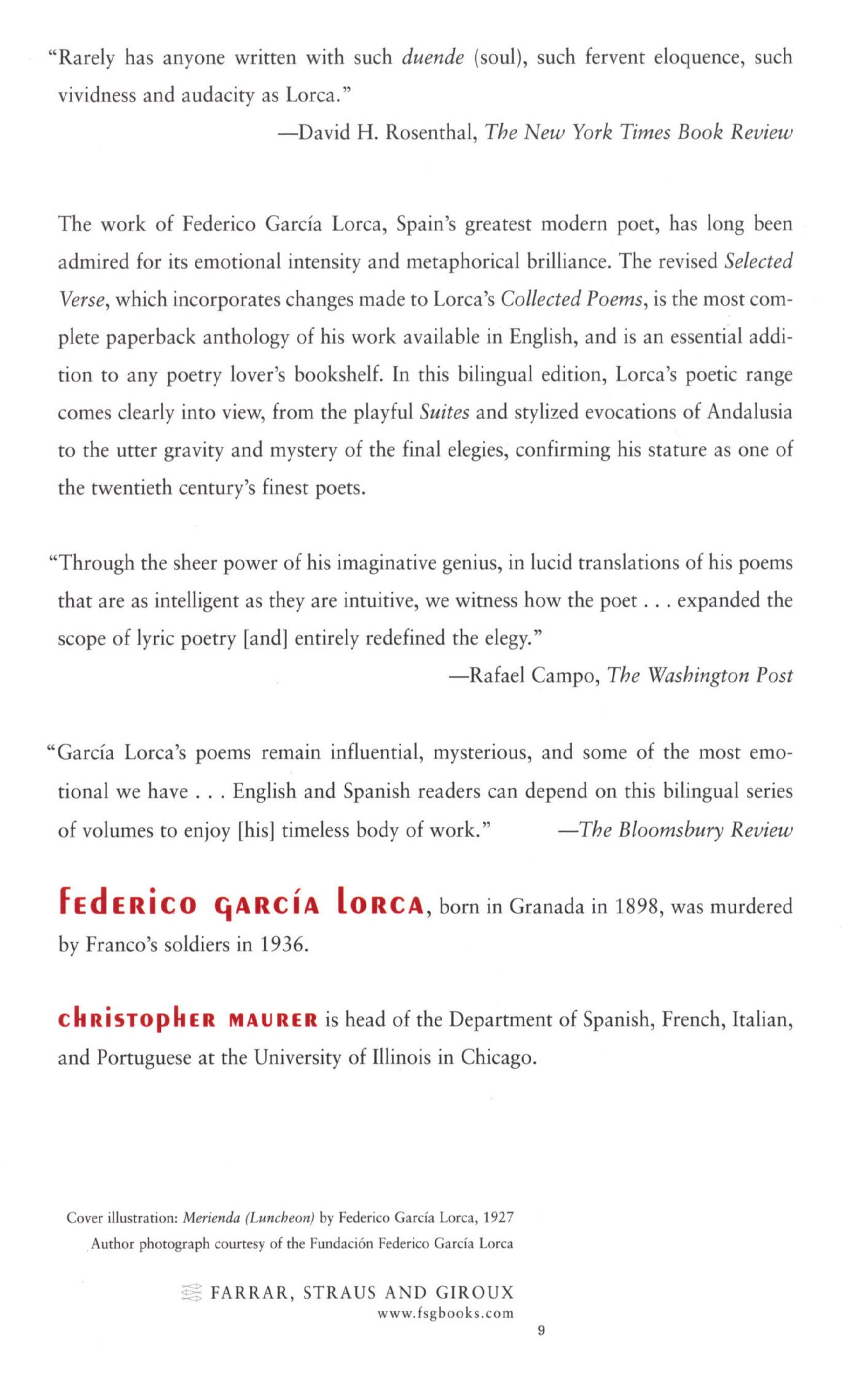 Selected Verse: Revised Bilingual Edition: Federico García Lorca,  Christopher Maurer: 9780374528553: Amazon.com: Books