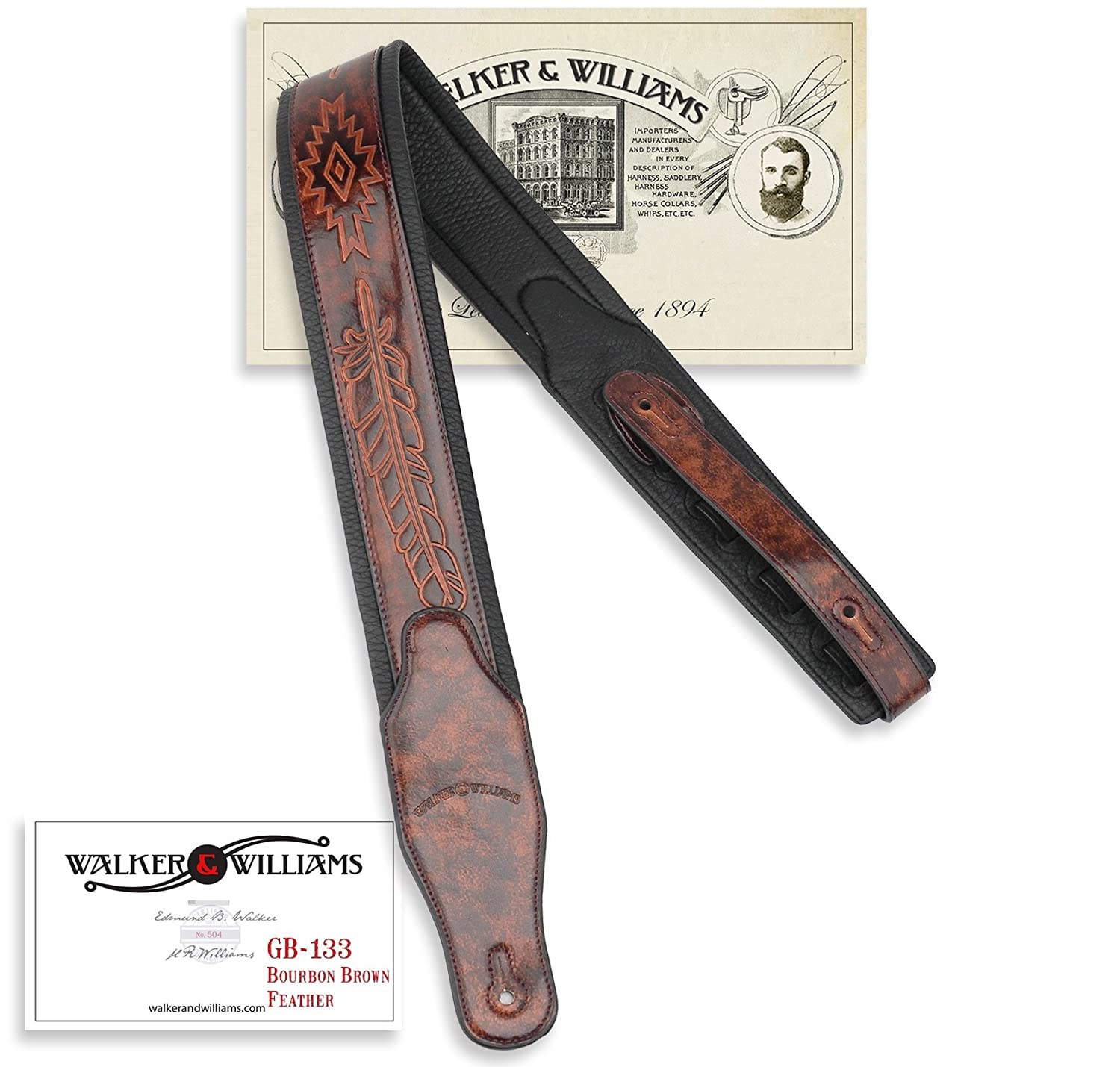 Walker /& Williams GB-133 Chestnut Brown Native American Feather Padded Guitar Strap