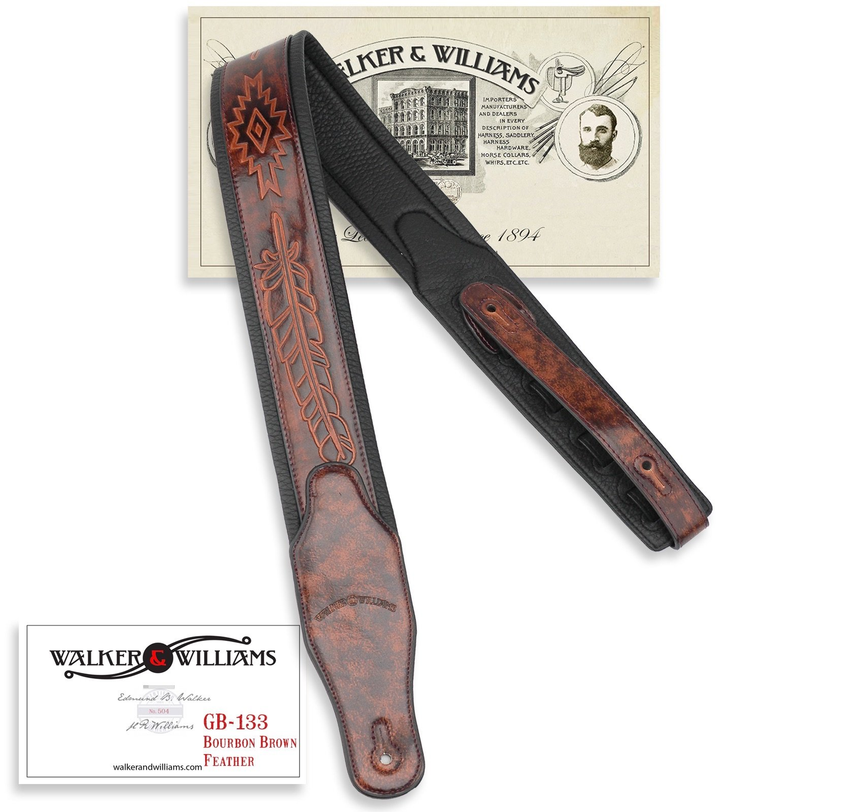 Walker & Williams GB-133 Chestnut Brown Native American Feather Padded Guitar Strap by Walker & Williams