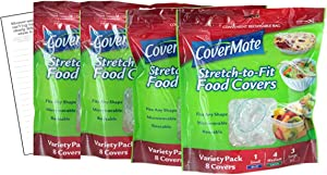 Covermate Stretch-to-fit Food Covers 4pk plus Convenient Magnetic Shopping List by Harper & Ivy Designs, Reusable, Dishwasher Safe, Microwavable, BPA/PVC Free, Great for Leftovers, Heavy Duty, 3 Sizes