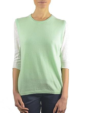 Annalisa Bucci Cashmere 01D10000 Chaleco de Traje, Verde (Verde ...
