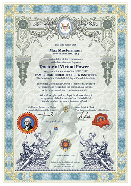 ✰ CAMBRIDGE DOKTORTITEL OHNE STUDIUM ✰ Doctor of Virtual Power ...