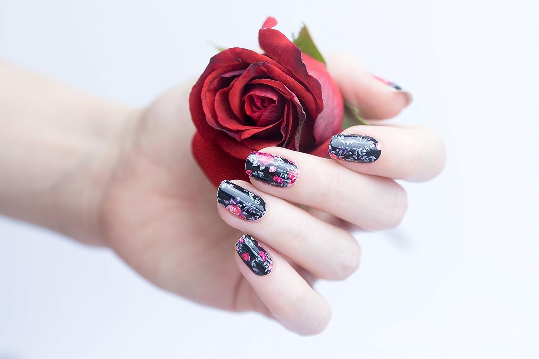 Miss Sophies Nagelfolie Sleeping Beauty Blumen Rot Schwarz 20 Selbstklebende Nail Wraps