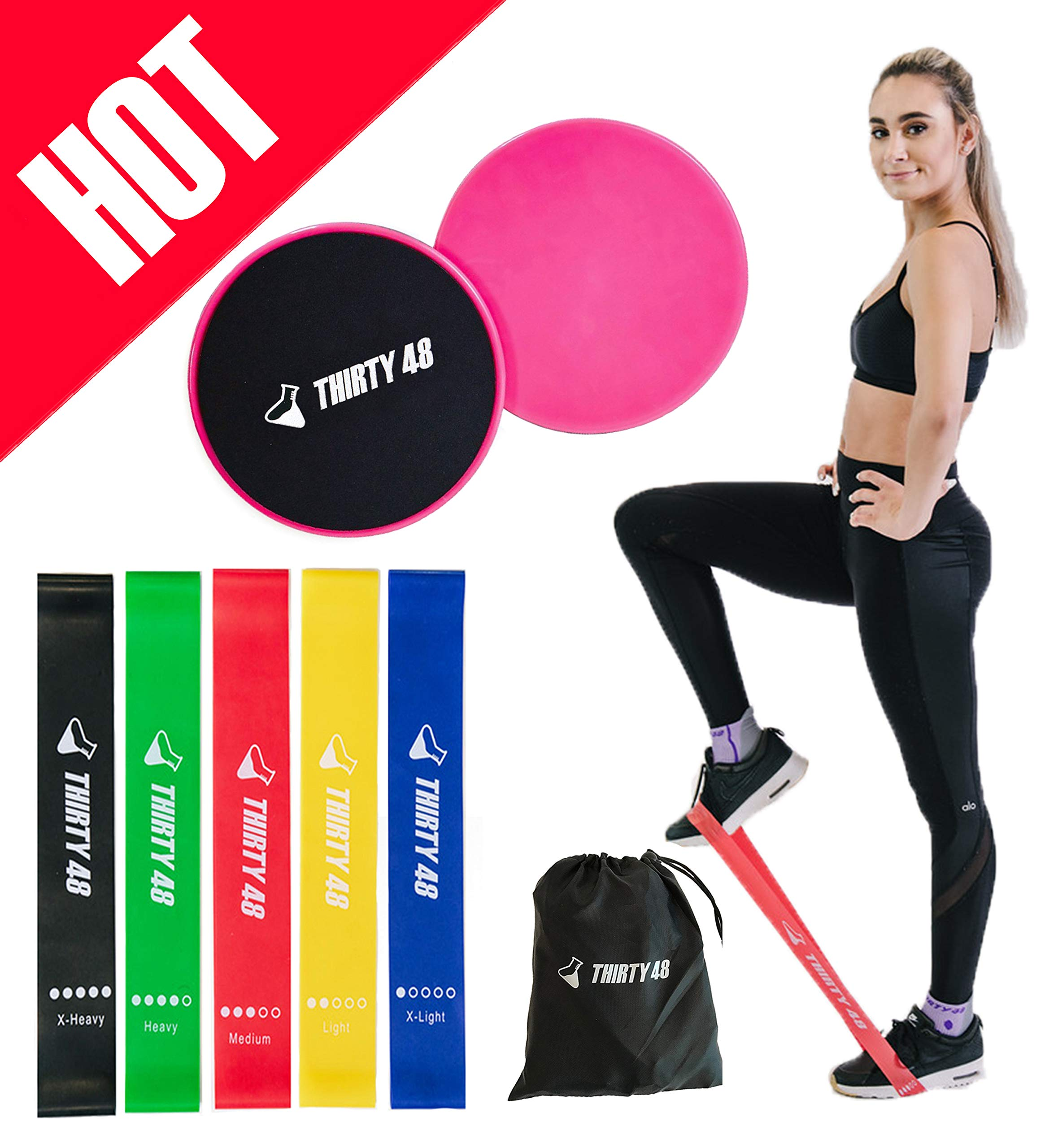 Thirty48 Gliding Discs Core Sliders and 5 Exercise Resistance Bands | Strength, Stability, and Crossfit Training for Home, Gym, Travel | User Guide & Carry Bag (Resistance Bands + Core Slider(Pink)) by Thirty48 (Image #1)