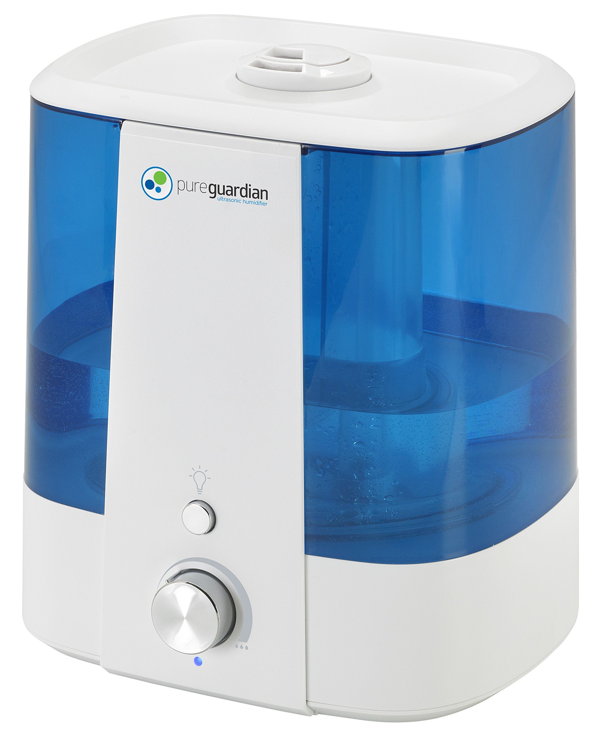 PureGuardian 6.4L Output per Day Top Fill  Ultrasonic Cool Mist Humidifier with Aroma Tray for Essential Oils, 90-Hour Personal Humidifier, 1.5 Gallon Room Humidifier, Pure Guardian H1175WCA