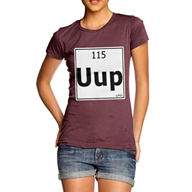 TWISTED ENVY Damen T-Shirt Periodic Table Element UUP Ununpentium Print  Small Burgund