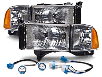 HEADLIGHTSDEPOT Halogen Headlights Conversion Set w/Wiring Harness on