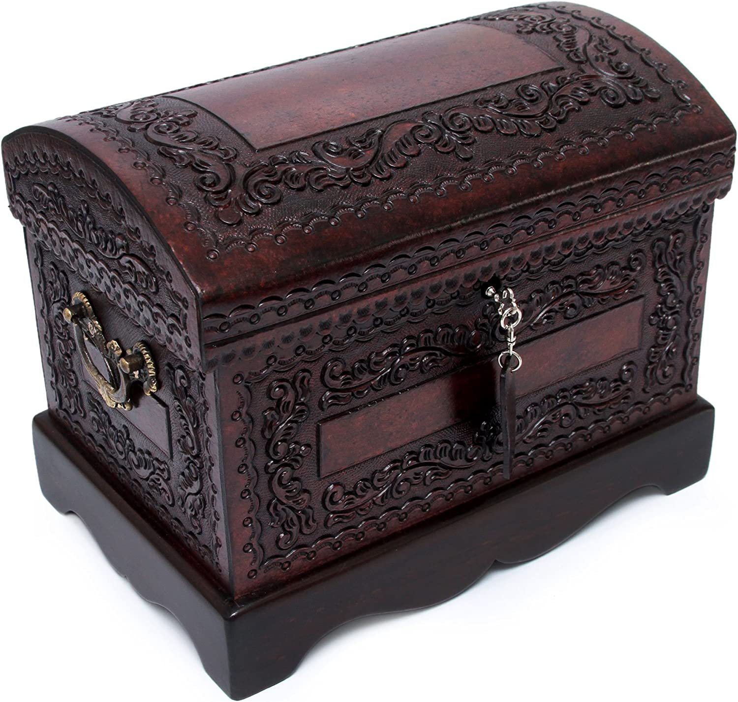 NOVICA Colonial Wood and Leather Jewelry Box, Brown 'Colonial Treasure'
