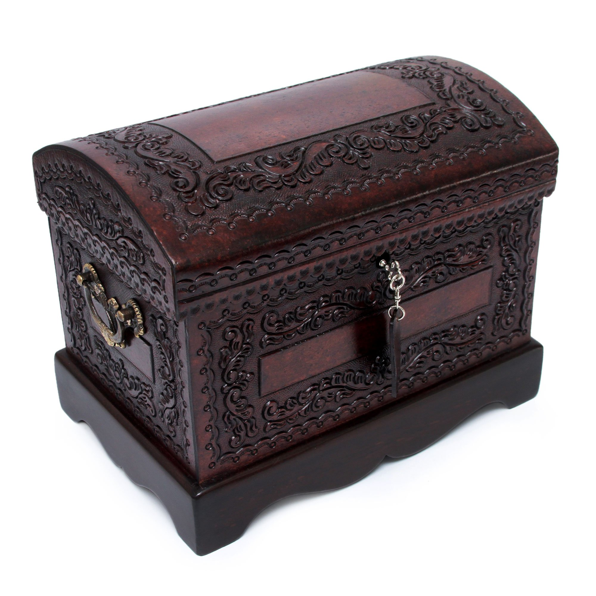 NOVICA Colonial Wood and Leather Jewelry Box, Brown 'Colonial Treasure' by NOVICA