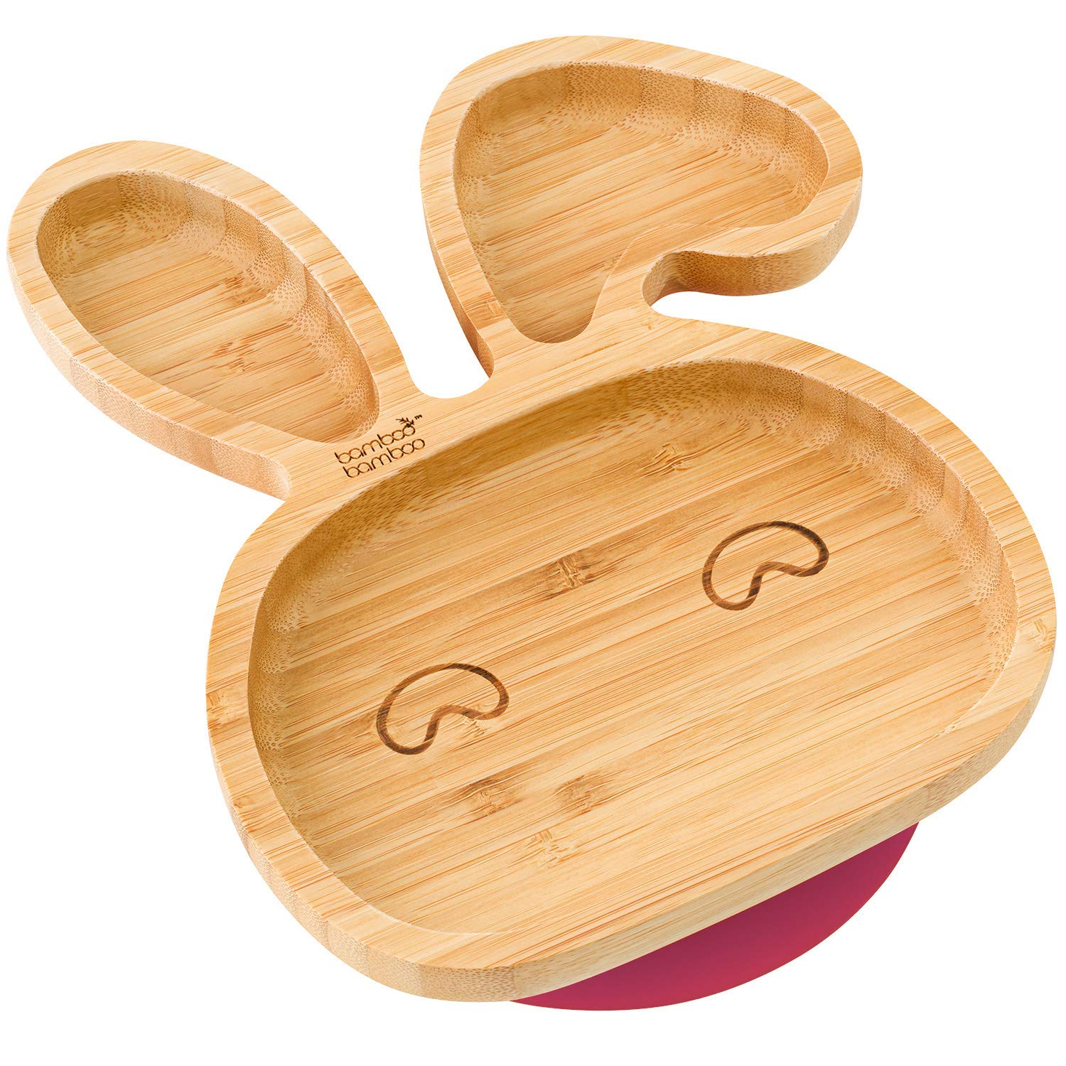 bamboo bamboo® Baby Toddler Bunny Cub Suction Plate, Stay Put Feeding Natural (Cherry)