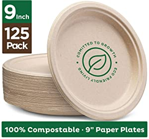"Stack Man 100% Compostable 9"" Paper Plates [125-Pack] Heavy-Duty Quality Natural Disposable Bagasse, Eco-Friendly Made of Sugar Cane Fibers, 9 inch, Brown"
